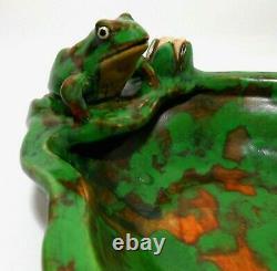 Rare Weller Arts & Crafts Signed Early 20th C Vint Cer Frog Bowl, Mottled Glaze