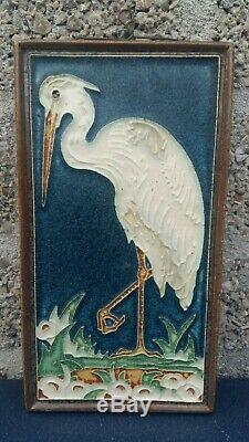 Rare porceleyne fles arts & crafts cloisonne delft tile silver heron bird