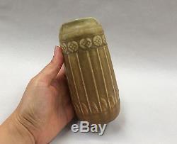 Rookwood 1910 Vase tan brown matte glaze shape 1747 vtg arts crafts pottery