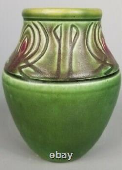 Rookwood Arts & Crafts Carved Mat Green & Rose 1905