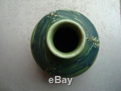 Rookwood Arts & Crafts Carved Matte Green 5.5 Blue Dragonflies Vase 1904 Toohey