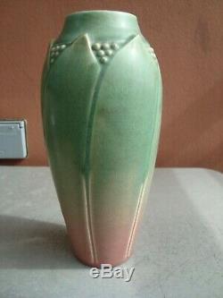 Rookwood Hand Incised 8.75 Matte Green & Rose Arts & Crafts Vase 1914