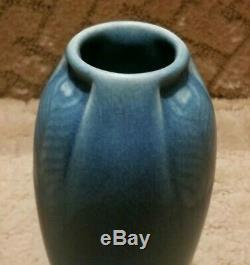 Rookwood Pottery 1917 Cabinet Vase 2402 Peacock Feather Matte Blue Arts & Crafts