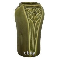 Rookwood Pottery 1920 Matte Olive Green Floral Arts and Crafts Vase 2141
