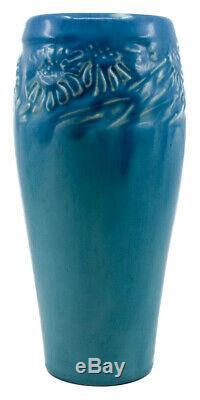 Rookwood Pottery 1921 Matte Blue Sunflower Vase #2217 Antique Arts And Crafts