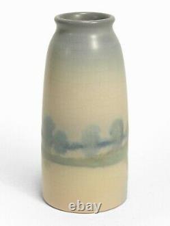 Rookwood Pottery 6 5/8 ED lake scenic matte vellum blue green arts & crafts
