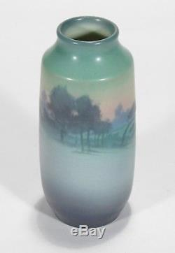 Rookwood Pottery 7 5/8 Sally Coyne scenic matte vellum blue green arts & crafts