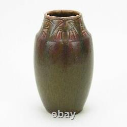 Rookwood Pottery 8 carved matte red green brown vase 1915 Arts & Crafts WEH