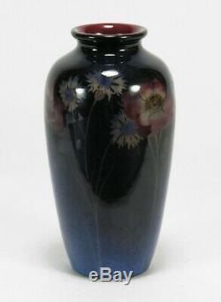 Rookwood Pottery HEW 1924 black opal glaze cornflower rose vase arts & crafts