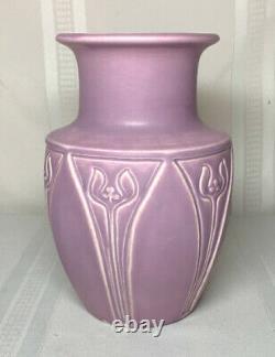 Rookwood Pottery, Matte Lilac Purple Arts & Crafts Designed Vase Nice Large Form