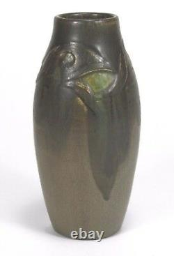 Rookwood Pottery carved matte brown green peacock feather Arts & Crafts CST 1914