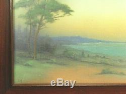 Rookwood Pottery coastal scenic vellum plaque'19 matte green blue arts & crafts