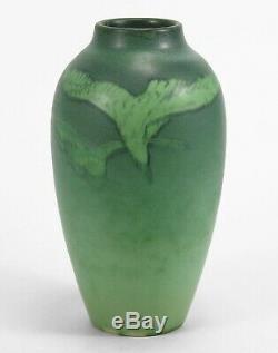 Rookwood Pottery matte vellum green seagull hawk bird vase'05 AMV arts & crafts