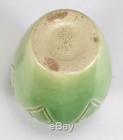 Rookwood Pottery production triangle design vase matte green arts & crafts 1906