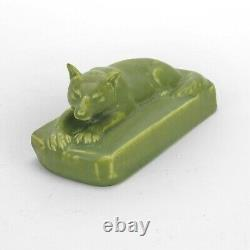 Rookwood Pottery production wolf dog paperweight 1926 arts & crafts matte green