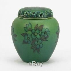 Rookwood Pottery wax matte green blue floral potpourri cov'd jar Arts & Crafts