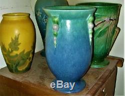 Roseville Art Pottery 1932 TOPEO BLUE GREEN MATTE 10 1/4 Vase Arts & Crafts