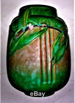Roseville Art Pottery Laurel Green satin matt arts crafts MINT Vase 672-8