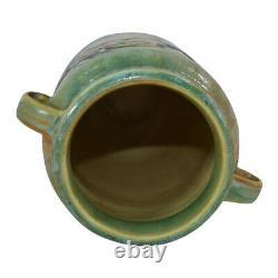 Roseville Pottery Baneda Green Arts and Crafts Handled Vase 590-7