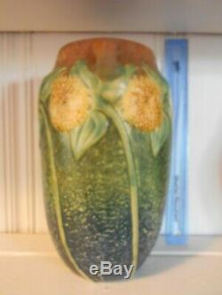 Roseville Sunflower 10 Handled Vase Arts & Crafts Mission PERFECT CONDITION