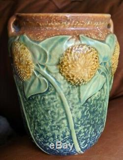 Roseville Sunflower Handled Vase Arts & Crafts Mission Perfect Condition