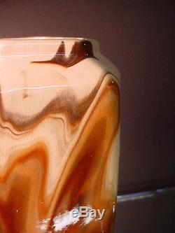 Scarce Weller Art Pottery Brown & White Marbleized Hexagon Vase Arts & Crafts