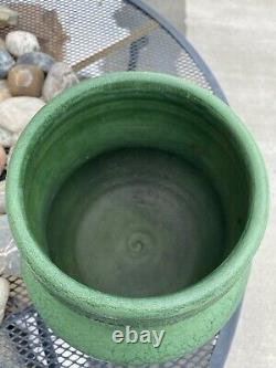 Signed wheatley pottery, Green Curdled Green Grueby style Glaze. Arts Crafts