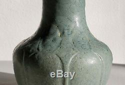Striking GRUEBY POTTERY Vase (Wilhelmina Post) Turquoise Arts & Crafts Boston