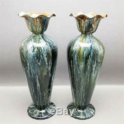 Stunning Pair Antique Christopher Dresser Linthorpe Arts & Crafts Pottery Vases
