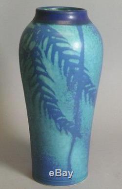 Superb Antique 11 Art & Crafts Pottery Vase c. 1920 American Impressed Mark