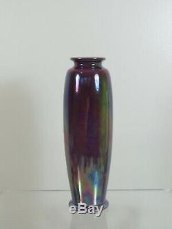 Superb Arts & Crafts Ruskin Pottery Tube Vase Purple Lustre Glaze 1922