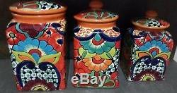 Talavera Folk Art Canisters Orange, Hand crafted Vibrant Floral XL Set 3