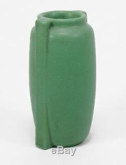 Teco Pottery 2 buttress matte green vase Arts & Crafts WD Gates prairie school