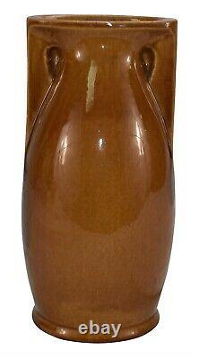 Teco Pottery Architectural Flat Sided Brown Handled Arts and Crafts Vase