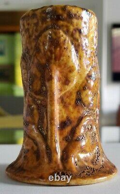 Tiffany Co. Favrile Pottery Mushroom Cabinet Vase Golden Glaze Arts and Crafts