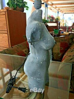 Unique Mid Century Modern Nude Lady Table Lamp Vtg Art & Crafts Pottery Gray