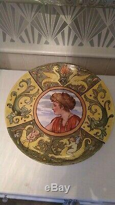 Unique cetem ware maling arts crafts charger signed dated 1892 b s shands