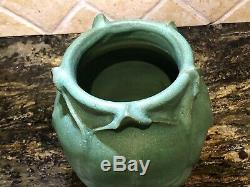 Unusual Handmade Heavy Old Arts & Crafts Matte Green Pottery Vase 7h X 6dia