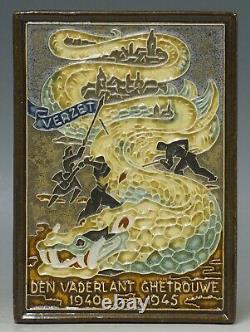 @ VERY RARE @ Arts & Crafts Porceleyne Fles Delft cloisonnee tile Dragon + BONUS