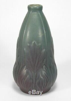 Van Briggle Pottery 1903 vase shape 202 Arts & Crafts matte blue purple bi color