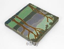 Van Briggle Pottery 6x6 landscape tile Arts & Crafts matte green blue purple mtn