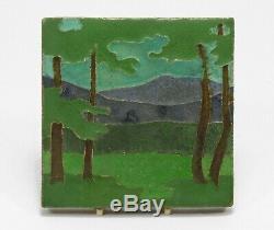 Van Briggle Pottery 6x6 landscape tile Arts & Crafts matte green purple mountain