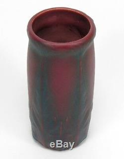 Van Briggle Pottery Arts & Crafts mulberry red blue leaf & flower vase shape 661