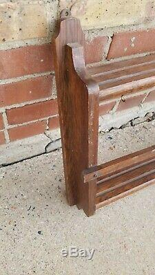 Vintage 1910s Oak Mission Wall Plate Shelf Arts and crafts art Pottery display