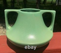 Vintage 1920s Haeger EVE Arts & Crafts Deco Matte Green Pottery Vase Teco Style
