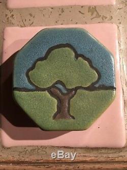 Vintage Antique Saturday Evening Girls Scenic Arts & Crafts Pottery Tile / Label