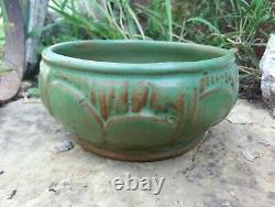 Vintage Arts & Crafts 1915 era Weller Pottery Orris Matte Green Lilly Pad Bowl