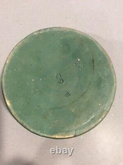 Vintage Arts & Crafts Era Strobl Pottery Matte Green Bowl