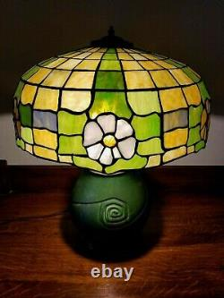 Vintage Arts & Crafts Leaded Glass Table Lamp with Hampshire Art Pottery Base