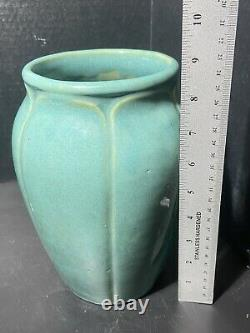 Vintage Arts & Crafts Style Zanesville Stoneware Co. #837 Gloss Aqua Vase